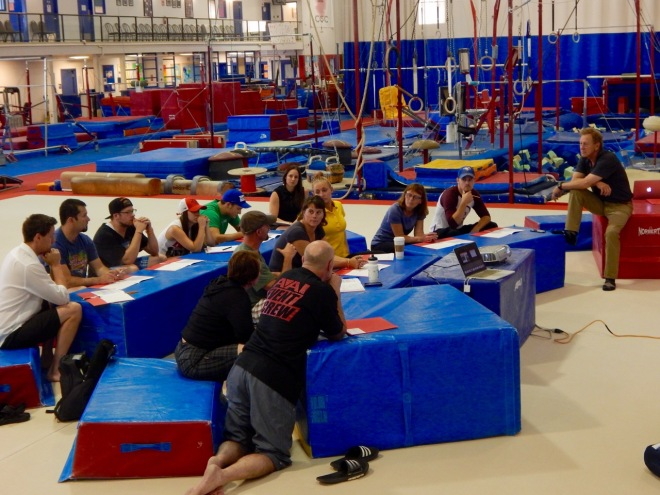 clinicians training at Calgary Gymnastics Centre