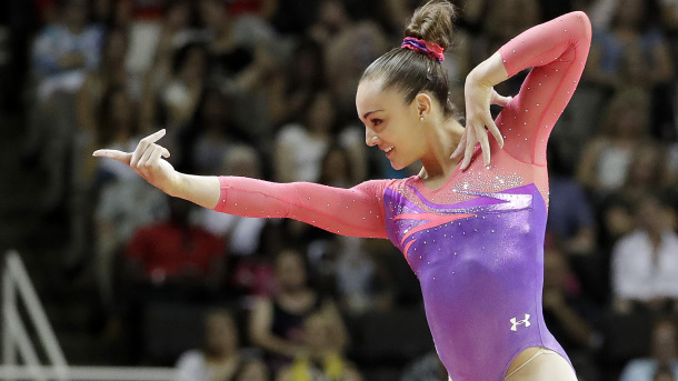Maggie Nichols competes on the floor exercise during the women's U.S. Olympic gymnastics trials in San Jose, Calif., Friday, July 8, 2016. (AP Photo/Gregory Bull)